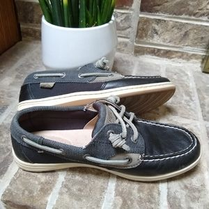 SPERRY Boat Shoe Navy Leather and Textile 360 Lace
